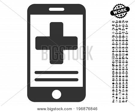 Online Medical Data icon with black bonus professional pictures. Online Medical Data vector illustration style is a flat gray iconic element for web design, app user interfaces.