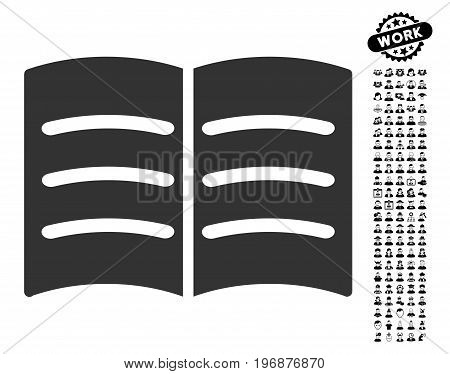 Open Book icon with black bonus men symbols. Open Book vector illustration style is a flat gray iconic element for web design, app user interfaces.