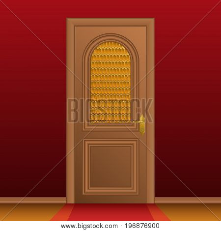 Closed entrance door and red wall. Vector illustration