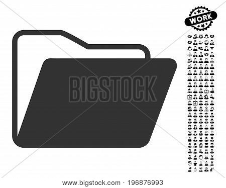 Open Folder icon with black bonus profession icon set. Open Folder vector illustration style is a flat gray iconic symbol for web design, app user interfaces.