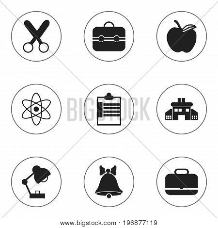 Set Of 9 Editable Knowledge Icons. Includes Symbols Such As Portfolio, Trunk, Supervision List And More