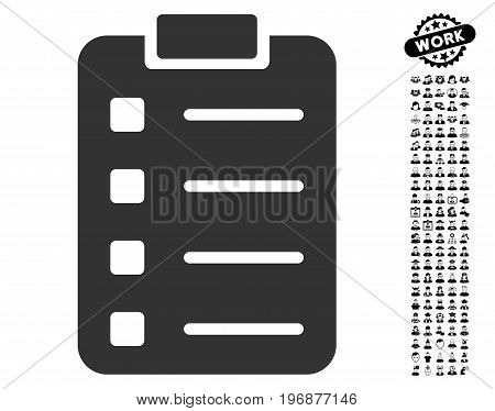 Pad Form icon with black bonus profession symbols. Pad Form vector illustration style is a flat gray iconic element for web design, app user interfaces.