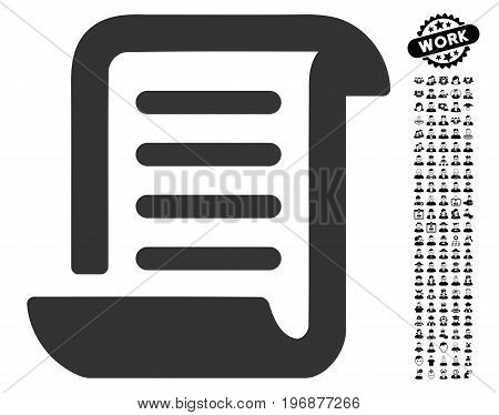 Paper Roll icon with black bonus people symbols. Paper Roll vector illustration style is a flat gray iconic element for web design, app user interfaces.