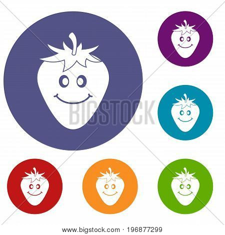 Ripe smiling strawberry icons set in flat circle red, blue and green color for web
