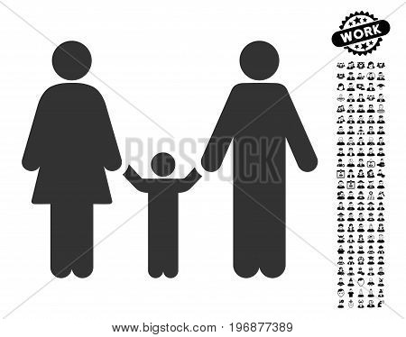 Parents And Child icon with black bonus profession icon set. Parents And Child vector illustration style is a flat gray iconic element for web design, app user interfaces.