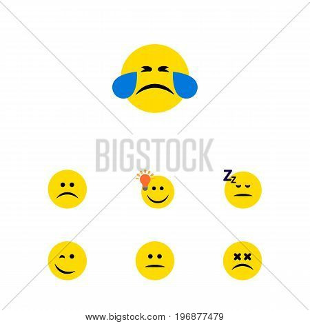 Flat Icon Face Set Of Cold Sweat, Have An Good Opinion, Displeased And Other Vector Objects