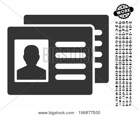 Patient Accounts icon with black bonus profession graphic icons. Patient Accounts vector illustration style is a flat gray iconic symbol for web design, app user interfaces.