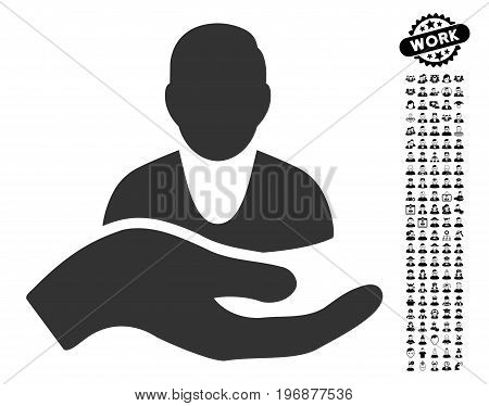 Patient Assistance icon with black bonus profession pictures. Patient Assistance vector illustration style is a flat gray iconic symbol for web design, app user interfaces.