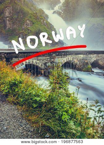 Latefossen Waterfall In Norway