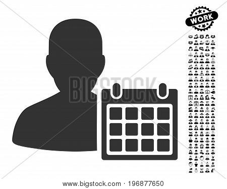 Patient Calendar icon with black bonus professional symbols. Patient Calendar vector illustration style is a flat gray iconic element for web design, app user interfaces.