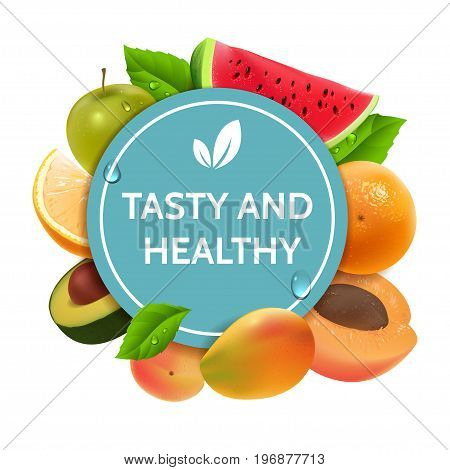 Colorful fruit frame. Tasty and healthy diet. Natural fruits and green leaves around the round blue tag. Apple, orange, avocado, water melon, mango and apricot. Realistic illustration. Vector eps 10.