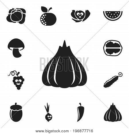 Set Of 12 Editable Cooking Icons. Includes Symbols Such As Laughing Cabbage, Citrus, Onion And More