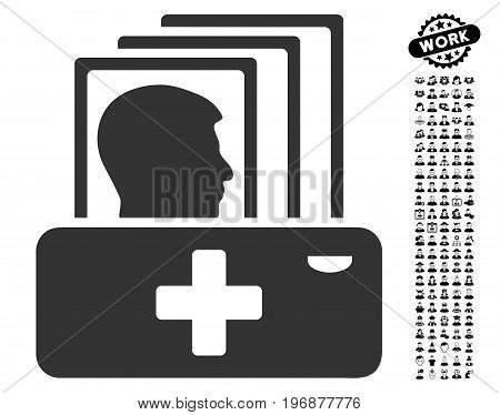Patient Catalog icon with black bonus people symbols. Patient Catalog vector illustration style is a flat gray iconic element for web design, app user interfaces.