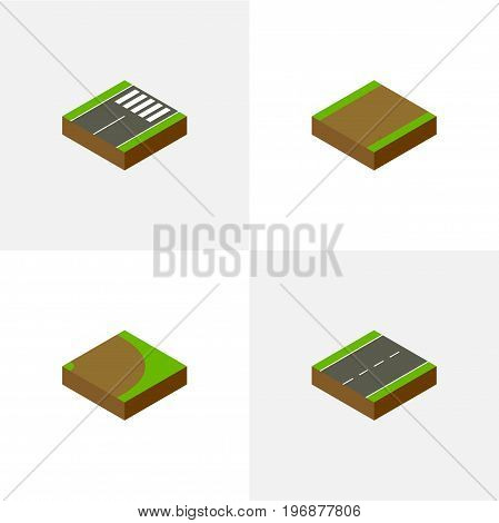 Isometric Road Set Of Driveway, Footpath, Rotation And Other Vector Objects