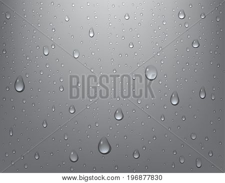 Realistic pure water drops on background. Steam shower condensation on vertical surface. Vector illustration. Eps 10.