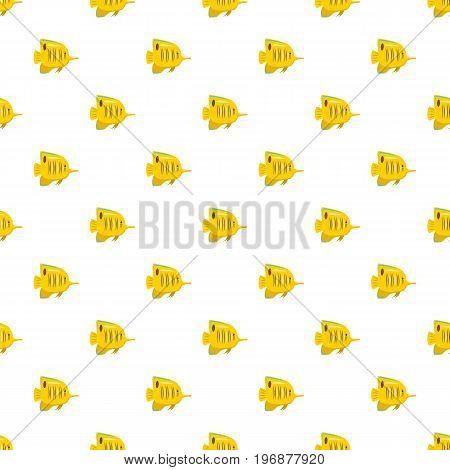 Yellow fish pattern seamless repeat in cartoon style vector illustration