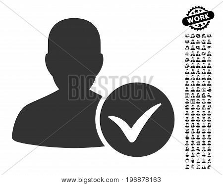 Patient Ok icon with black bonus work images. Patient Ok vector illustration style is a flat gray iconic element for web design, app user interfaces.