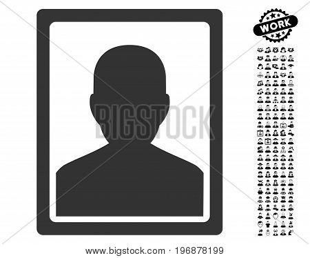 Patient Portrait icon with black bonus professional icon set. Patient Portrait vector illustration style is a flat gray iconic symbol for web design, app user interfaces.
