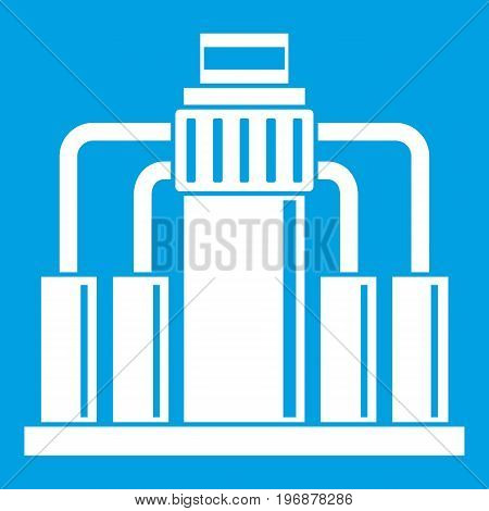 Oil refining icon white isolated on blue background vector illustration