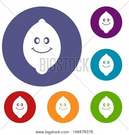 Smiling lemon fruit icons set in flat circle red, blue and green color for web