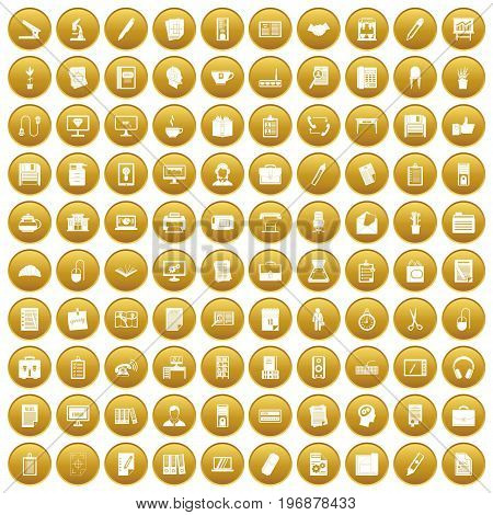 100 office icons set in gold circle isolated on white vector illustration