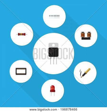 Flat Icon Device Set Of Receiver, Coil Copper, Repair And Other Vector Objects