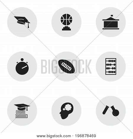 Set Of 9 Editable Teach Icons. Includes Symbols Such As Championship, Study Accomplishment, Phial And More