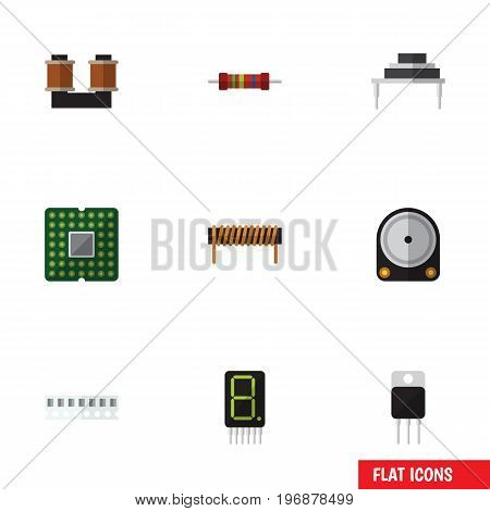 Flat Icon Technology Set Of Hdd, Coil Copper, Resistance And Other Vector Objects
