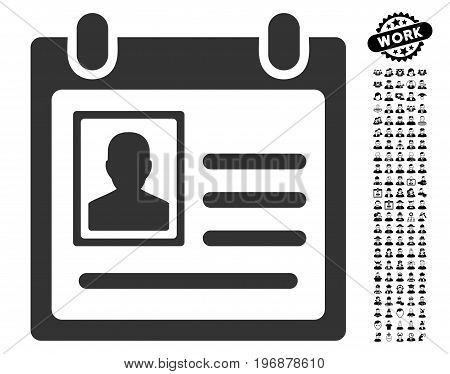 Personal Badge icon with black bonus people pictograms. Personal Badge vector illustration style is a flat gray iconic element for web design, app user interfaces.