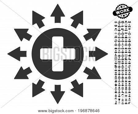 Pharmacy Distribution icon with black bonus profession images. Pharmacy Distribution vector illustration style is a flat gray iconic symbol for web design, app user interfaces.