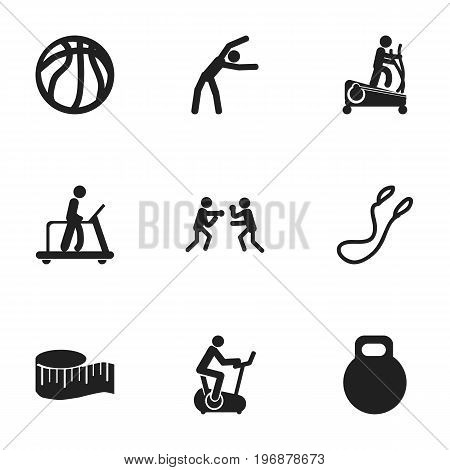 Set Of 9 Editable Fitness Icons. Includes Symbols Such As Instruction Male, Exercise, Jump Training And More