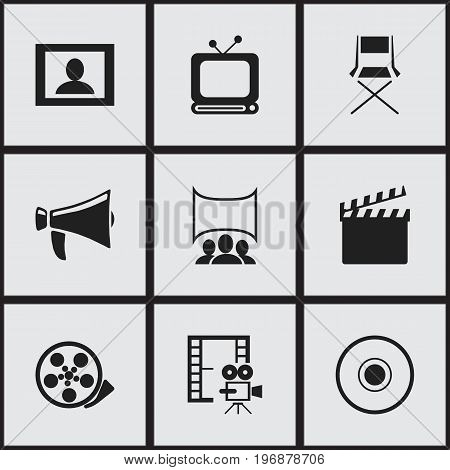 Set Of 9 Editable Movie Icons. Includes Symbols Such As Cinematography, Bullhorn, Screen And More