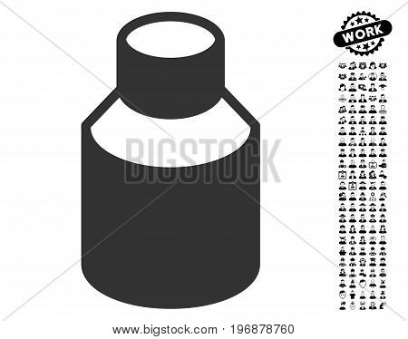Phial icon with black bonus profession images. Phial vector illustration style is a flat gray iconic symbol for web design, app user interfaces.