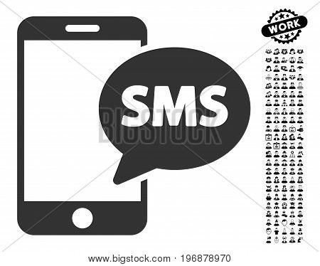 Phone SMS icon with black bonus job symbols. Phone SMS vector illustration style is a flat gray iconic element for web design, app user interfaces.