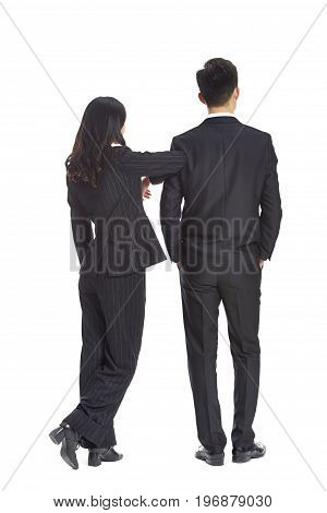 studio portrait of young asian business man and woman rear view isolated on white background.