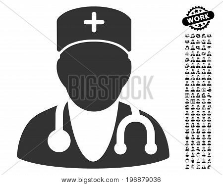 Physician icon with black bonus people graphic icons. Physician vector illustration style is a flat gray iconic symbol for web design, app user interfaces.