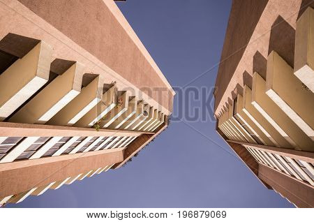 QUITO, ECUADOR- MAY 07, 2017: New building in the center of the city of Quito, Ecuador, in a sunny day, view from below.