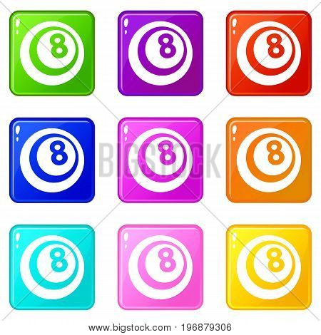 Black and white snooker eight pool icons of 9 color set isolated vector illustration