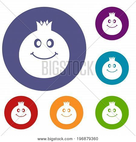 Ripe smiling pomegranate fruit icons set in flat circle red, blue and green color for web