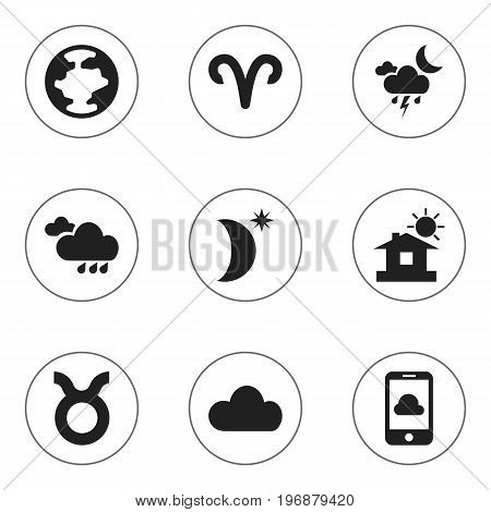 Set Of 9 Editable Air Icons. Includes Symbols Such As Rainy Autumn, Phone, Night Sky And More