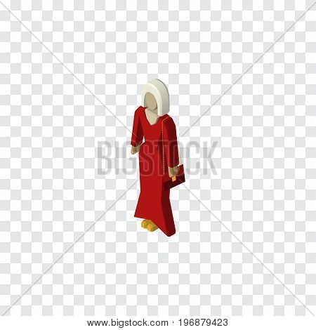 Female Vector Element Can Be Used For Female, Woman, Girl Design Concept.  Isolated Woman Isometric.