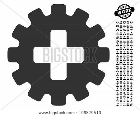 Plus Gear icon with black bonus professional design elements. Plus Gear vector illustration style is a flat gray iconic element for web design, app user interfaces.