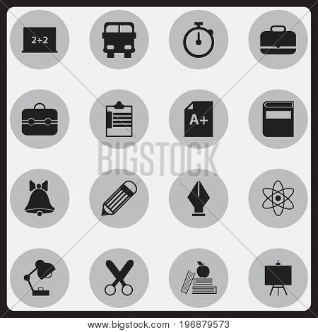 Set Of 16 Editable School Icons. Includes Symbols Such As Portfolio, Page, Nib And More