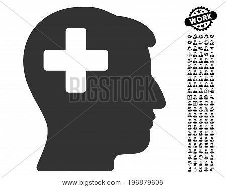 Plus Man Head icon with black bonus profession design elements. Plus Man Head vector illustration style is a flat gray iconic element for web design, app user interfaces.