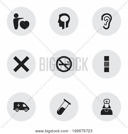 Set Of 9 Editable Care Icons. Includes Symbols Such As No Check, Wound Band, Test Tube
