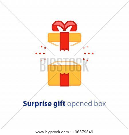 Surprise gift icon, opened yellow box with red ribbon, best present, super prize concept, special event celebration, receiving birthday gift, vector flat design illustration