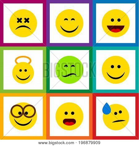 Flat Icon Gesture Set Of Pleasant, Laugh, Wonder And Other Vector Objects
