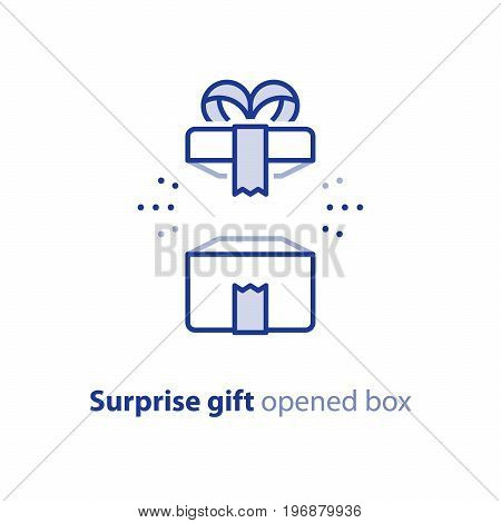 Surprise gift icon, opened white box with ribbon, best present, super prize concept, special event celebration, receiving birthday gift, vector flat design illustration