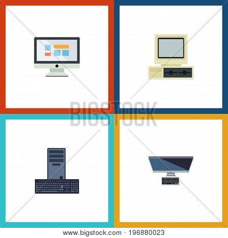 Flat Icon Laptop Set Of Processor, Computer, PC And Other Vector Objects