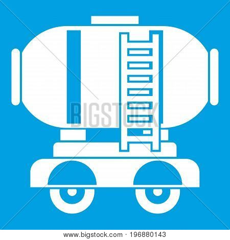 Waggon storage tank with oil icon white isolated on blue background vector illustration